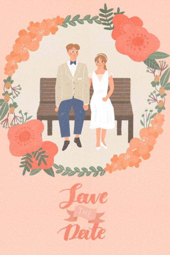 第006期 新婚蜜月婚礼系列插画PSD